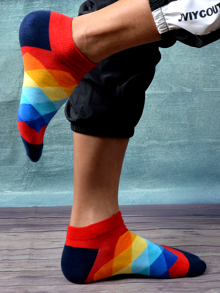 SANZETTI Short Socks Happy-Combed Plaid Novelty Colorful Pairs/Lot Cotton Men's Summer