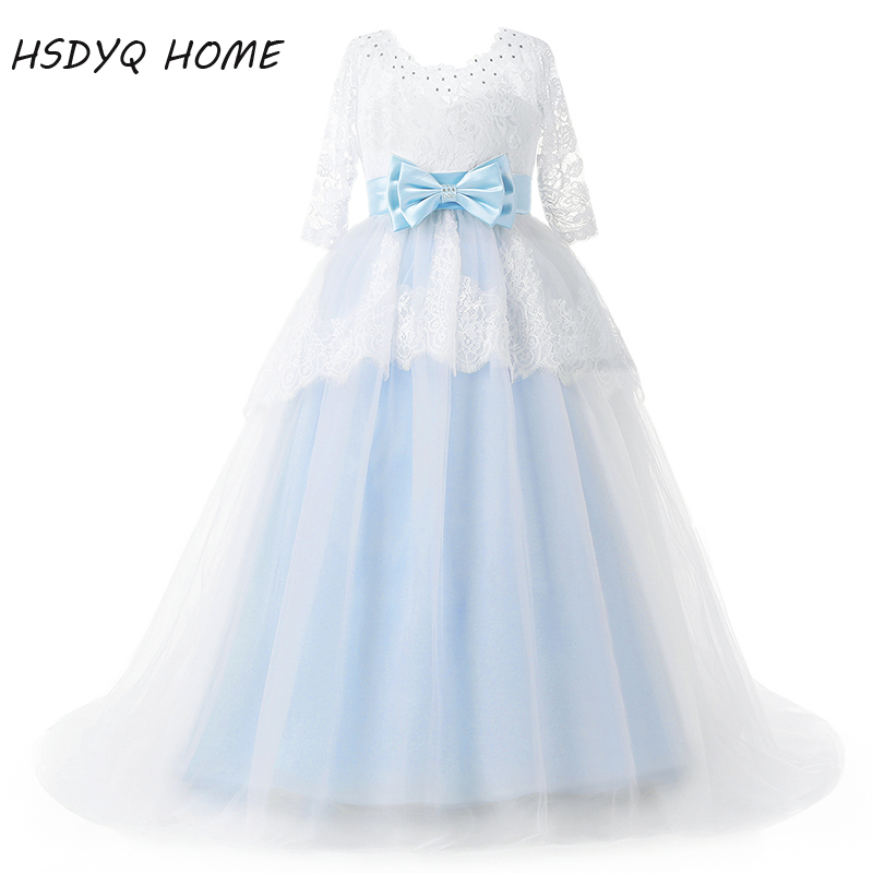 Free shipping Lace   Flower     Girl     Dresses   real photo Ball Gown Long Princess bow floor-length   Girls     Dresses   2017