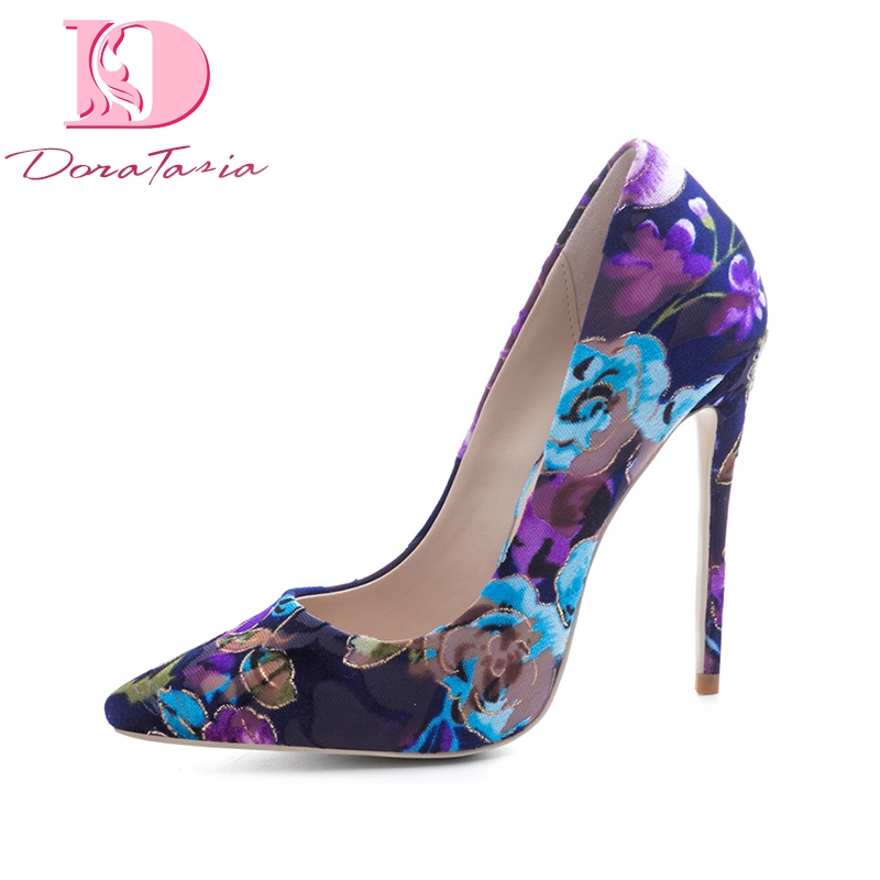 DoraTasia New women's Flock Thin High Heels Print Pointed Toe Flower Shoes Woman Casual Party Pumps Plus Size 33-45 doratasia embroidery big size 33 43 pointed toe women shoes woman sexy thin high heels brand pumps party nightclub