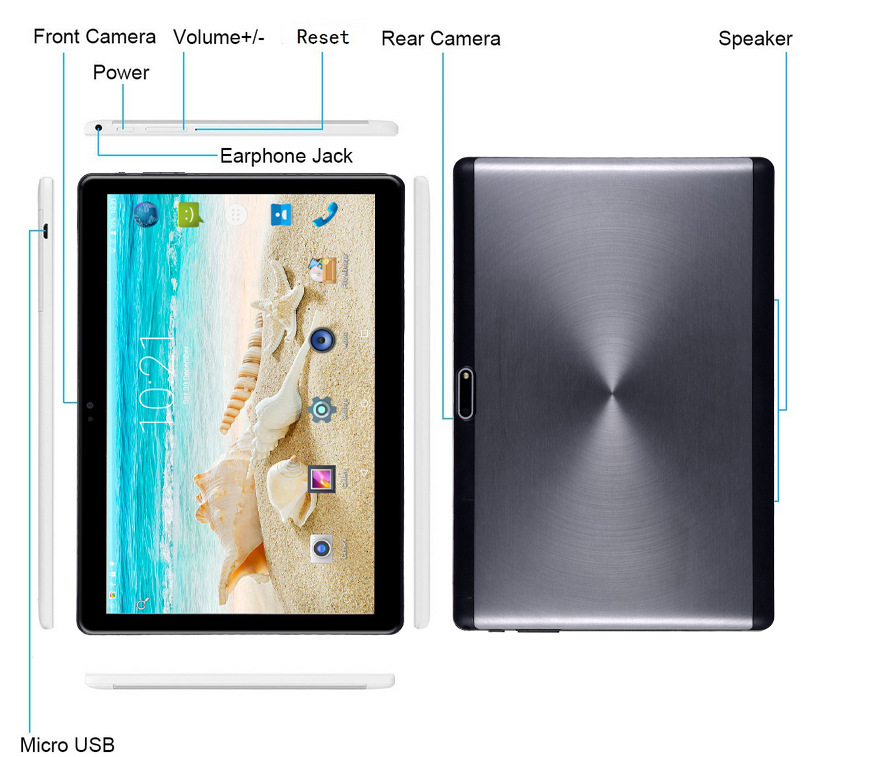 Gros OEM 10 pouces Android 7.0 Octa Core PC 4G LTE 3G tablette mobile appel téléphone portable - 3