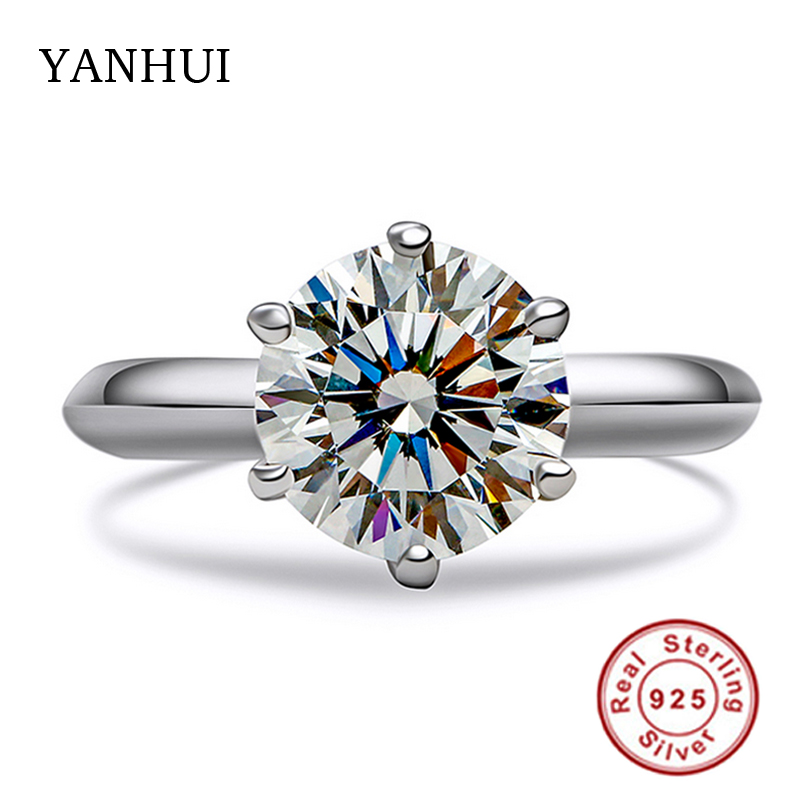 Big Promotion Real Solid Silver Rings Set 8MM 2 Carat SONA CZ Diamant Engagement Ring 925 Jewelry Wedding Rings for Women JZ2906 men wedding band cz rings jewelry silver color anillos bague aneis ringen promise couple engagement rings for women