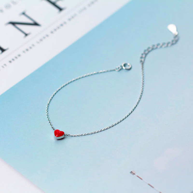 925 sterling silver anklet halhal on foot leg Korean fashion red love ankle peach heart anklets for women cute jewelry 3