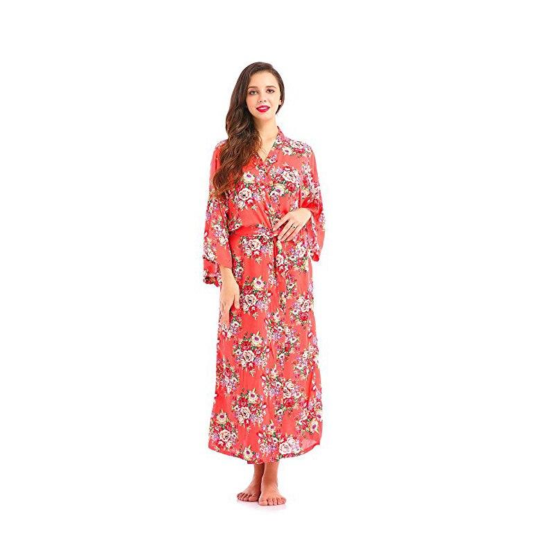Women's Floral Print Kimono Long Robe Cotton Bride Gift Wedding Bridesmaids Dress Ankle LengthSilk Robes Dressing Gown