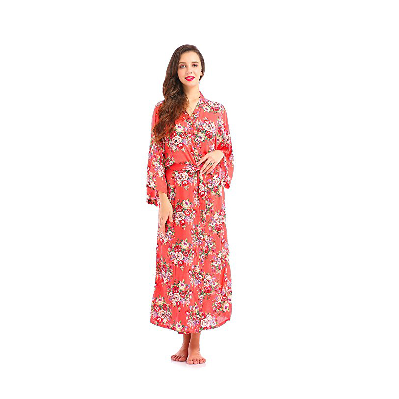 Women's Floral Print Kimono Long Robe Cotton Bride Gift Wedding Bridesmaids Dress Ankle LengthSilk Robes Dressing Gown