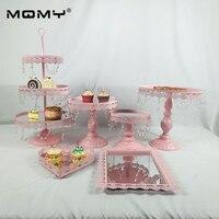 Pink Wedding Dessert Table Wedding Decoration Cake Stand Tray Set mirror tray