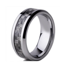 Fibra de carbono negro 8 mm de acero de tungsteno anillo del carburo de Mens Wedding Band tamaño ee.uu. 7-10