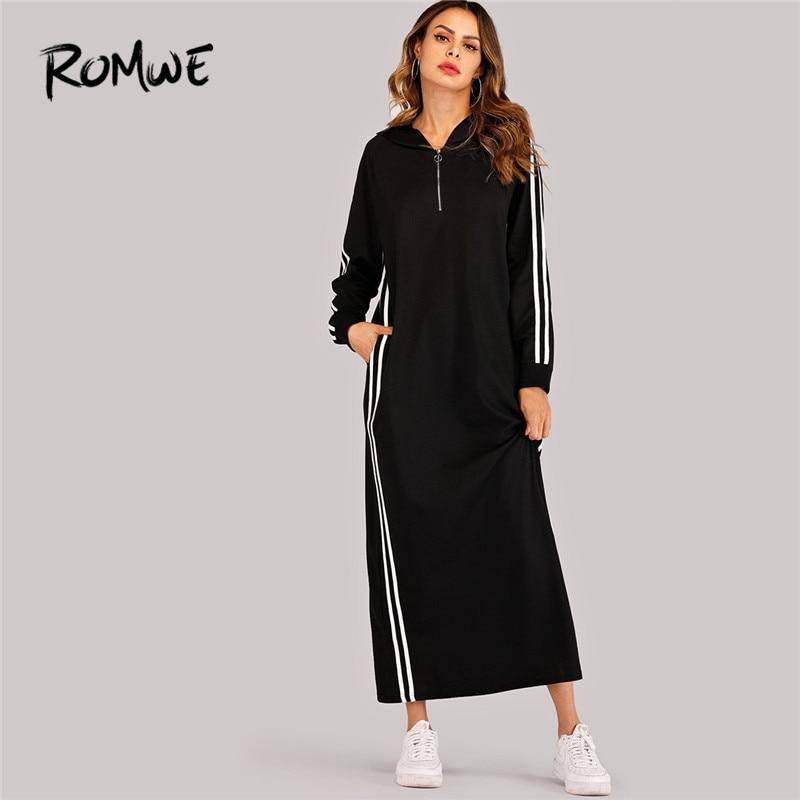 ROMWE Black Hooded Long Sleeve Straight Maxi Sweatshirt Dress  Women Spring Autumn Side Striped Tape Zipper Up H Hoodie  DressesDresses