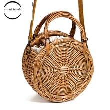 купить 3 Ways 2019 New Female Straw Bag Rattan Bag For Women Summer Holiday Beach Handbag Woven Round Tote Handmade Bolsas Femonina дешево