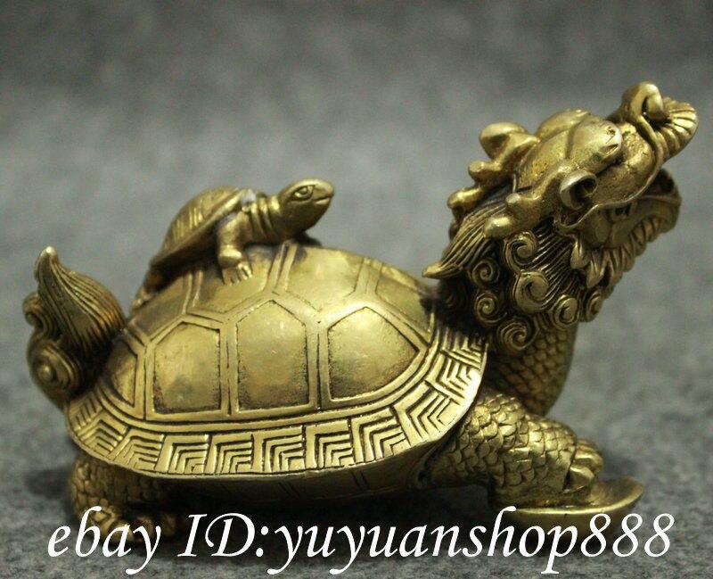 Populaire chinois laiton FengShui longévité Shou Dragon tortue tortue tortue Statue animaux jardin décoration 100% réel laiton - 4