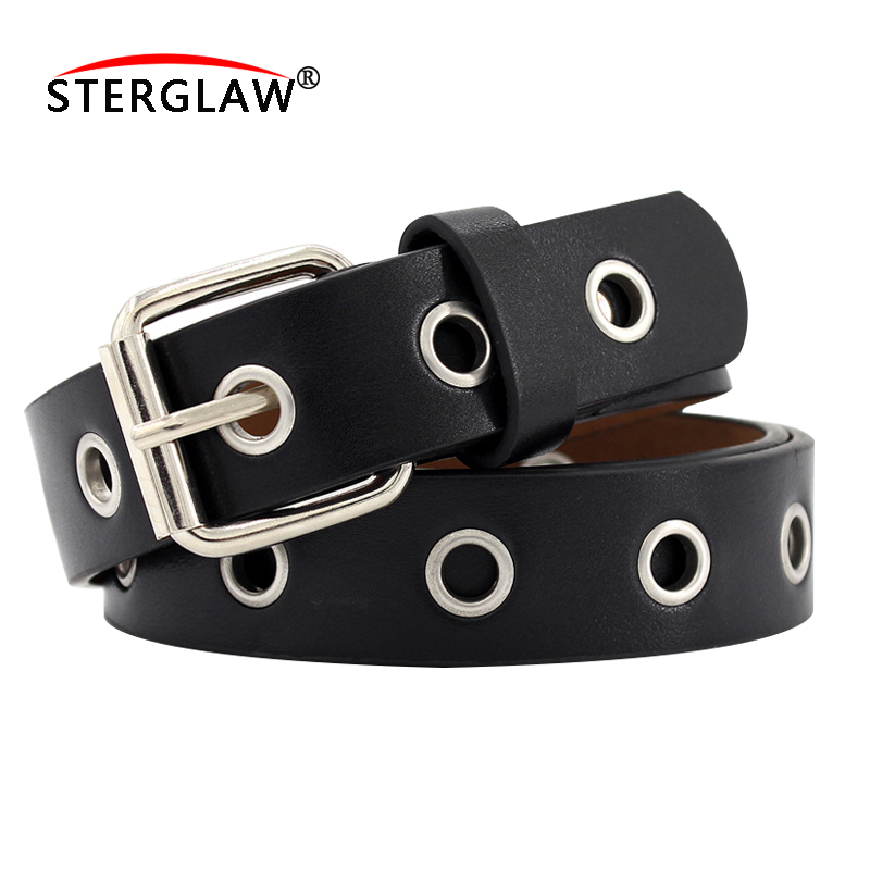 2020 New Strap Women Waist Belt Hollow Rivets PU Leather Strap For Womens Slim Waistband Female Ladies Apparel Accessories F128
