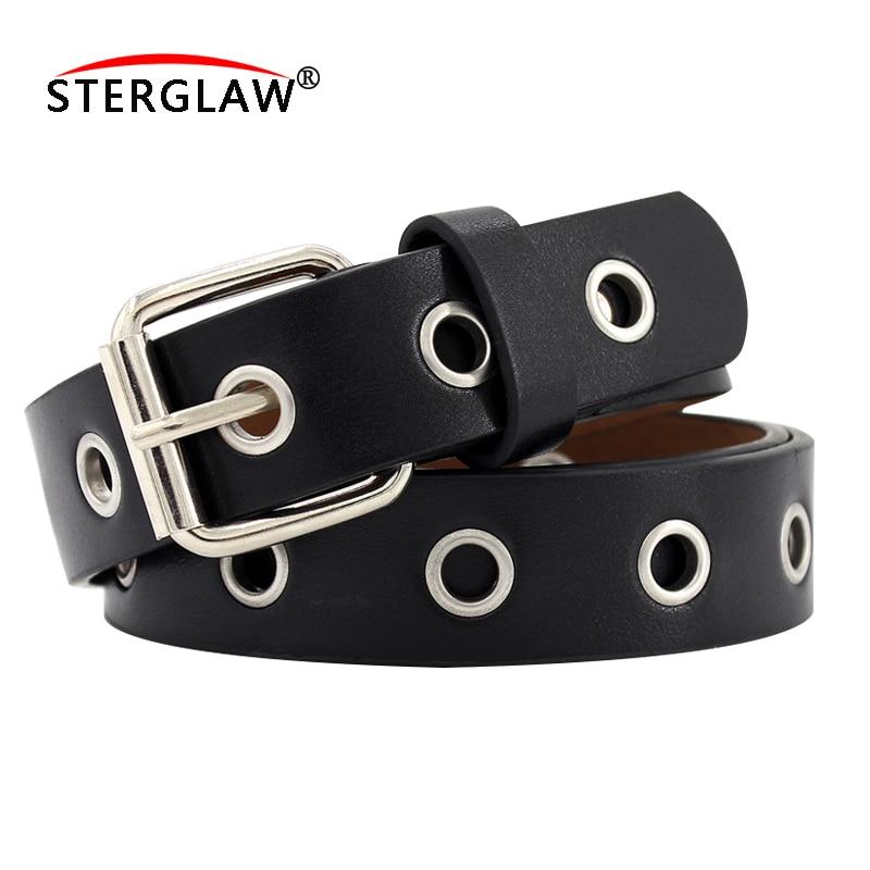 2020 New Strap Women Waist Belt Hollow Rivets PU Leather Strap For Womens Slim Waistband Female Ladies Apparel Accessories F128