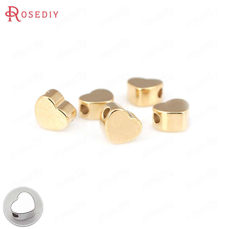 20PCS 5MM 6MM 24K Gold Color Plated Brass Heart Shape Spacer Beads Bracelet Beads High Quality Diy Jewelry Accessories
