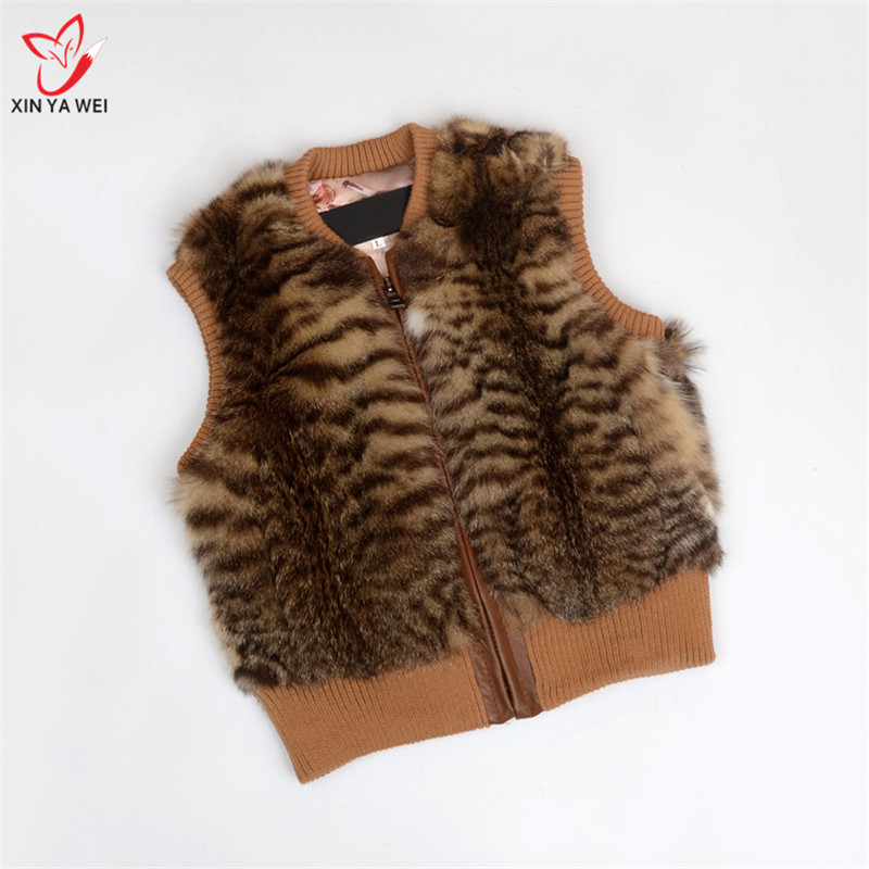ขนสัตว์กระต่ายจริงเสื้อกั๊กเด็กผู้หญิงแจ็คเก็ต 2018 ใหม่ฤดูหนาว Thicken Grils Boys Leopard Cat skin เสื้อกั๊กเด็ก Outerwear Coats-ใน ขนสัตว์จริง จาก เสื้อผ้าสตรี บน   3