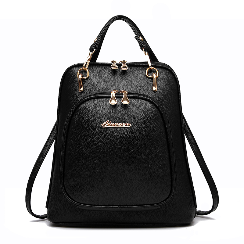 Women Backpack PU Leather Embossing Zipper Fashion Backpacks Famous Brands Preepy Schools Bags For Teenage Girls