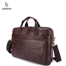 ZZNICK 2018 NEW Genuine Leather genuine leather laptop bag Handbags Cowhide Men Crossbody Bag Men's Travel  leather briefcase