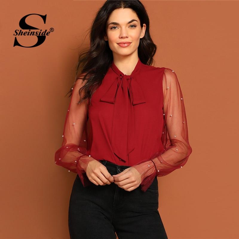 Sheinside Tie Neck Pearl Beaded Mesh Sleeve Top Women Elegant   Blouse     Shirt   2019 Autumn Burgundy Office Ladies Tops And   Blouses