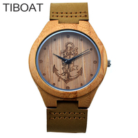 المراسي تصميم الخيزران البحر tiboat المفقودة الساعات اليابان الكوارتز ساعات المعصم جلدية حقيقية الرجال النساء luxulry خشبي