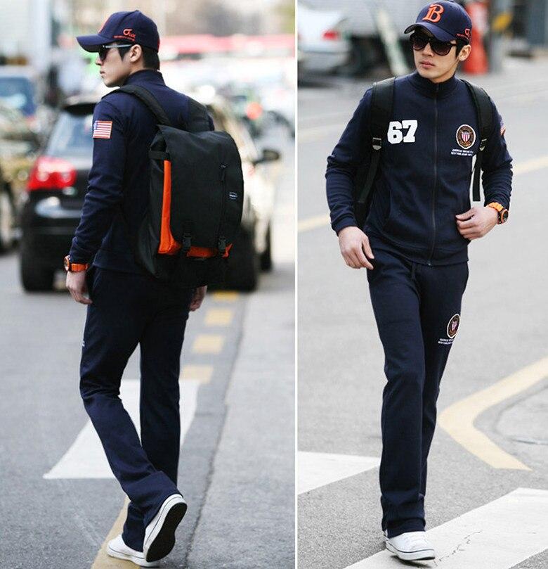 2013 Men Korean Couple Long Sleeve American Flag Zip Up Sweatshirt Tracksuits Sweatpants Sport ...