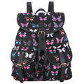 New Arrival Black Blue Red Pink Gray Butterfly Printing Canvas Backpack Bagpack Mochila Feminina Bolsa Rugzak School Bags