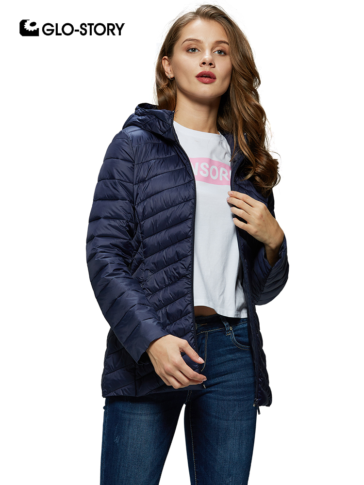GLO-STORY 2019 New Women Solid Hooded Thin   Parkas   Winter Coats Slim Fit Winter Jackets Ladies CoatS For Female WMA-8804
