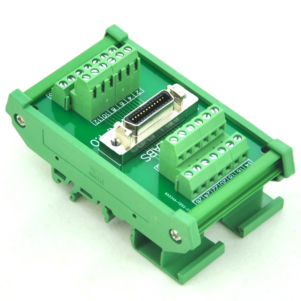 DIN Rail Mount 26 pin 0 05 Mini D Ribbon MDR Female Interface Module SCSI
