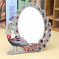 Hollow-out rhinestone chic retro vintage peacock pattern ladies makeup mirror desktop mirror makeup tools home office use