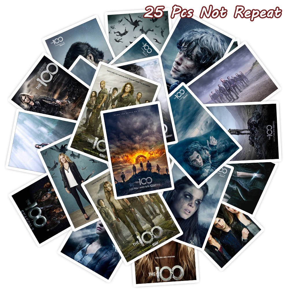 25PCS TV Series The 100 Stickers DIY Waterproof Vinly Sticker For Fridge Luggage Laptop Computer Decal Room Wall Stickers