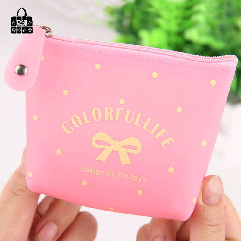 RoseDiary 4 color Candy color bow jelly silicone coin purses child girl&student women change purse,lady zero wallets,coin bag coin purses creative big eyes pu leather coin purses child girl women change purse lady zero wallets coin bag free shipping