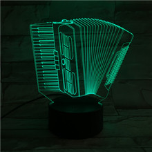 Accordion Usb 3d Led Night Light Multicolor Rgb Boys Child Kids Baby Gifts Musical Instrument Atmosphere Table Lamp Bedside Neon sale novelty buddha usb 3d night light atmosphere led bulbs luminaria nights lamp christmas birthday gifts table rgb lamparas