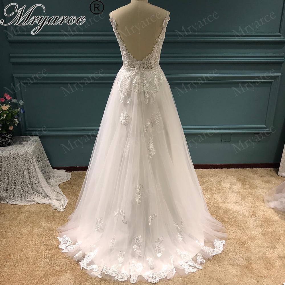 Mryarce Wedding Dress 2019 Lace Appliques Tulle A Line Bridal Gowns Spaghetti Straps vestido de noiva