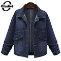 Oladivi Autumn And Winter Women Denim Jacket 2016 Vintage Ladies Oversize Loose Jeans Coat Solid Slim Chaqueta Mujer Plus Size