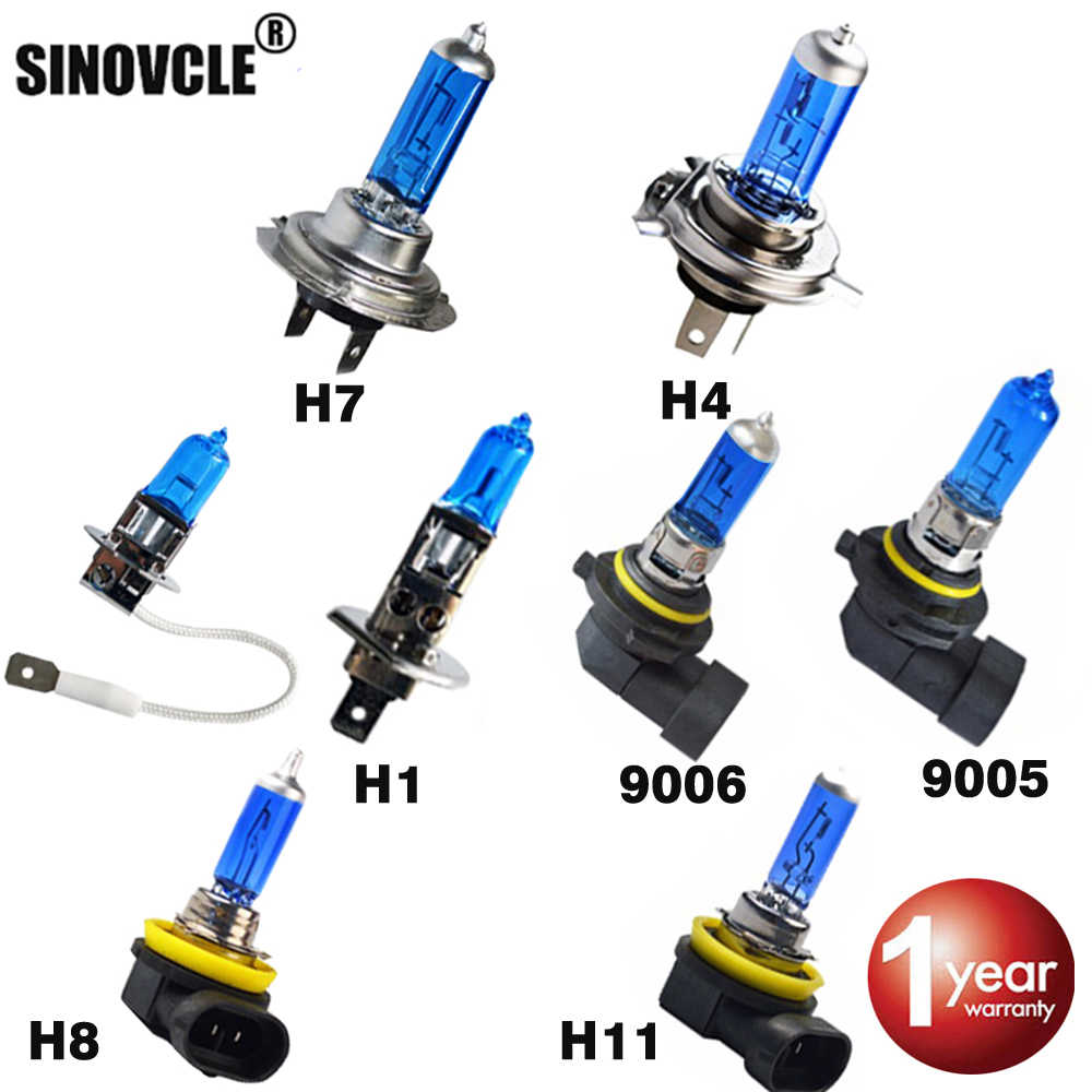 SINOVCLE Car Headlight Halogen Bulb H1 H3 H4 H7 H8 H11 9005 HB3 9006 HB4 12V 55W 100W 5000K Super White Quartz Glass Dark Blue