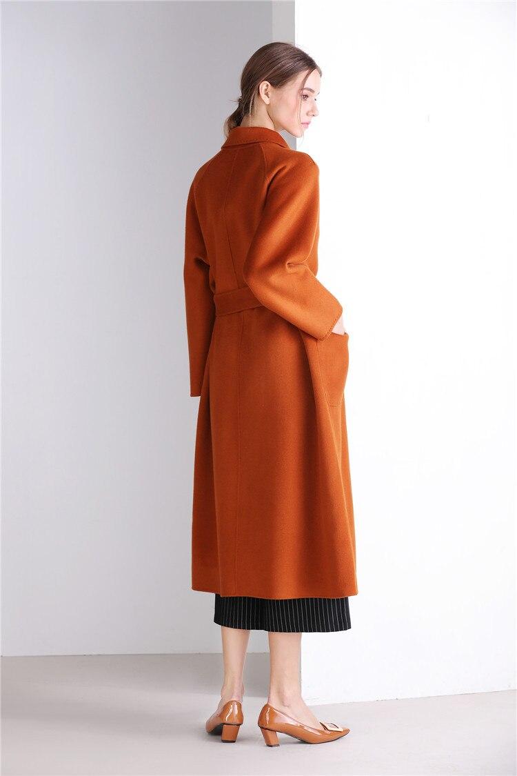 Eupope New Sided Handmade Lapel Lacing Belt Color sólido lana abrigo mujer abrigo 2017 otoño e invierno abrigo Mujer - 3