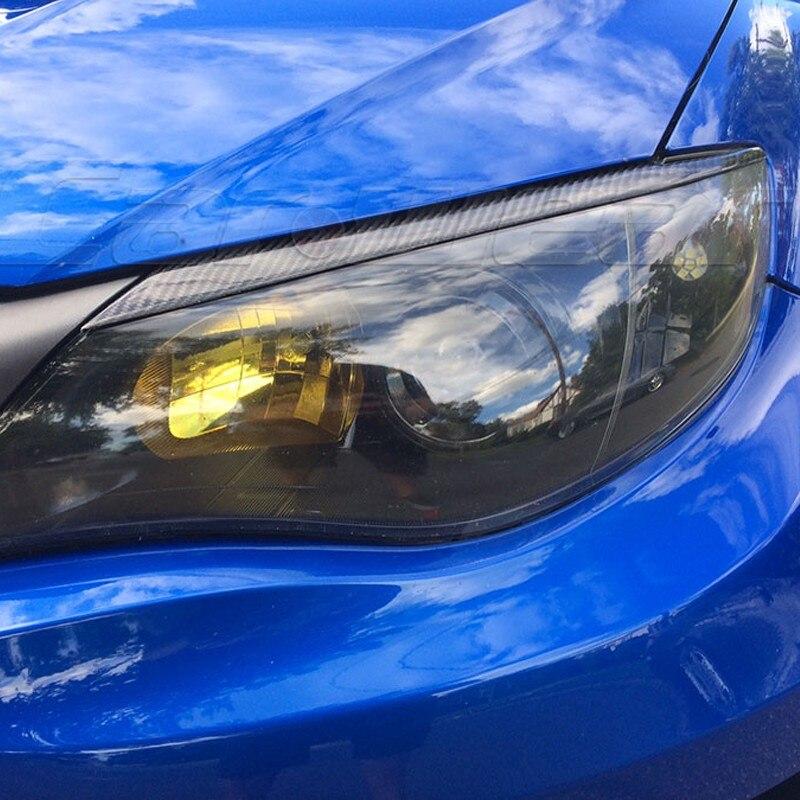 Sopracciglia per faro per auto 2 pezzi Sopracciglia per palpebre in fibra di carbonio per faro per Subaru Impreza WRX STI 2008-2011