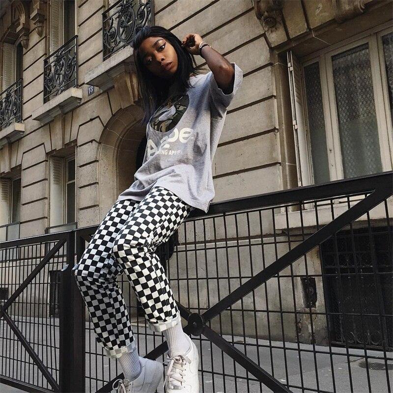 InstaHot Plaid Zipper Checkered Straight Pants Women Fashion Casual Slim Pockets Long Pants Black White Pencil Pantalon Femme 14