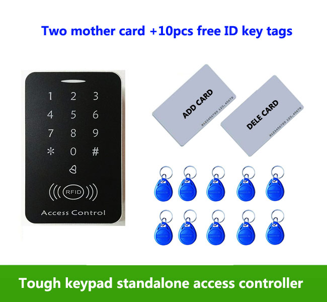 Touch Screen Access Control Keypad EM 125Khz Card Reader Standalone Access Control ,2pcs mother card, 10pcs ID tags,min:1pcs
