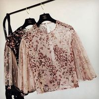 New Spring And Summer 2017 Europe Temperament Printing Chiffon Shirt Women Sleeve Female Flower Broken Lotus