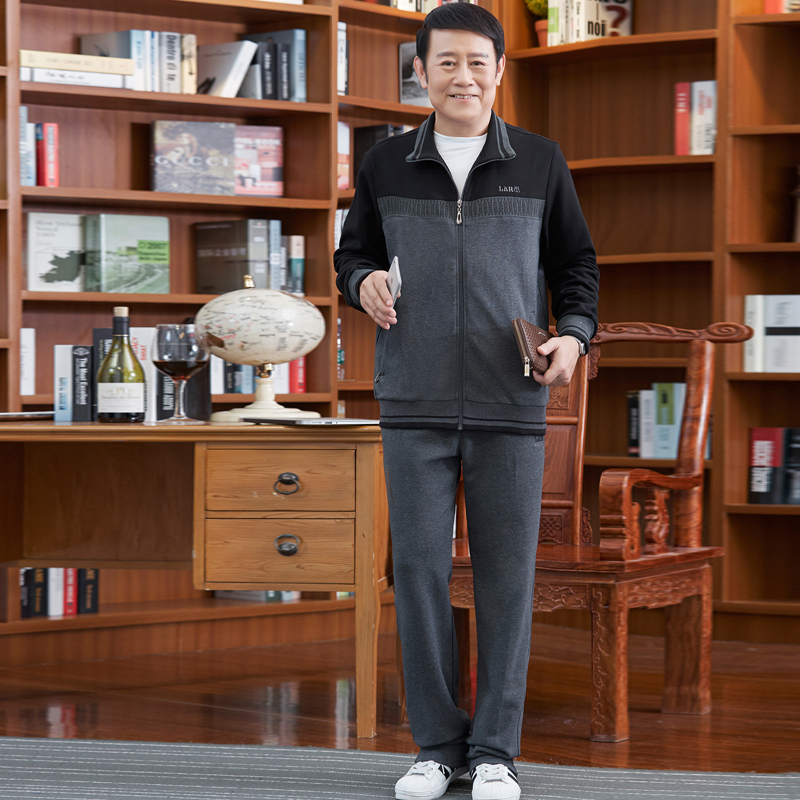 2017 Spring and Autumn in the middle of the elderly sportswear men s cardigan trousers suit