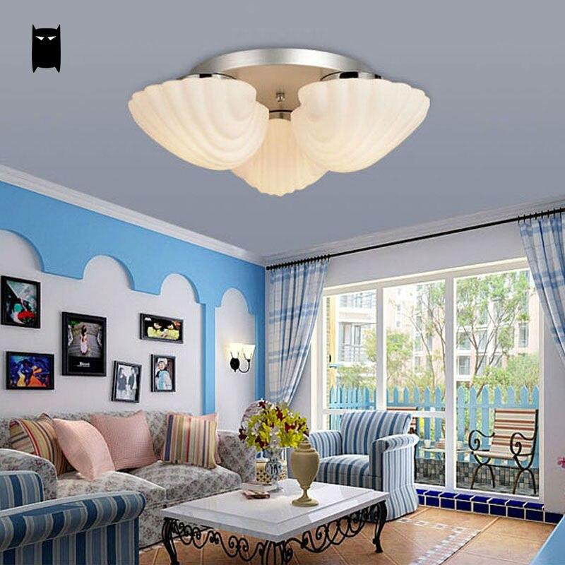Milky Glass Flower Seashell Ceiling Light Mediterranean Sea Shell Lamp E27 LED Bulb Plafon Lustre Avize Design Kid Girl Bedroom