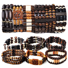 Mix Lot 5Pcs/lot Natural Wood Beads Charm Bracelets Fashion Jewelry Style Wooden Adjustable Bracelet Cuff Bangle Wholesale