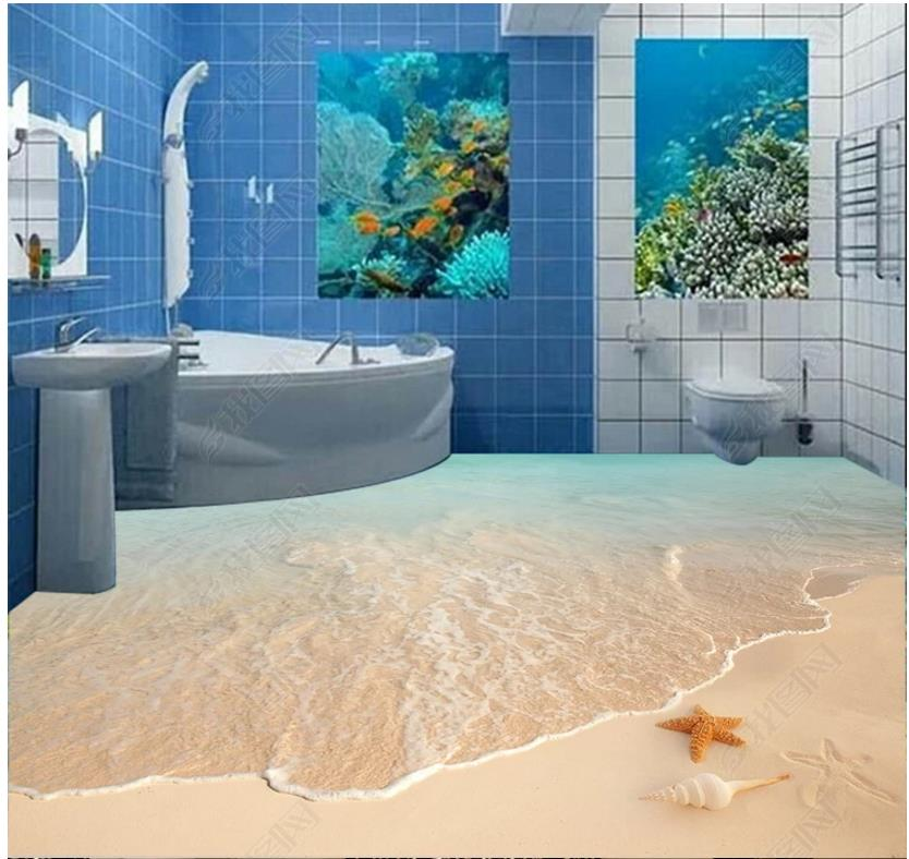 Custom photo wallpaper 3d flooring self-adhesion Wall Sticker Beach surf starfish shell 3D bathroom floor painting home decor stylish mirkwood design 3d wall sticker for home decor