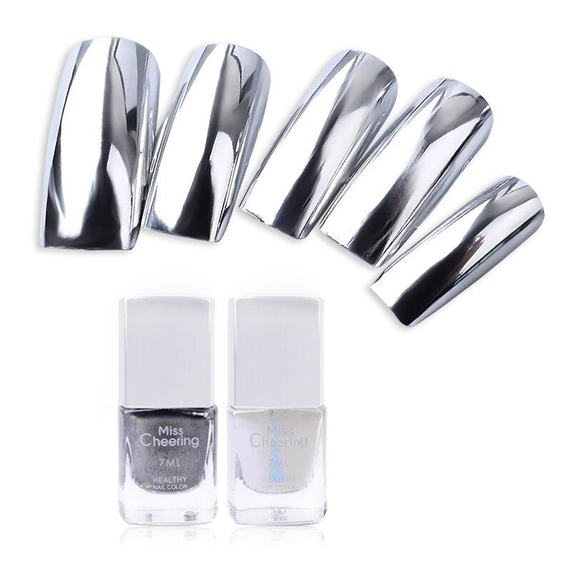Silver mirror nail polish base coat peel off metal nail for Mirror nail polish
