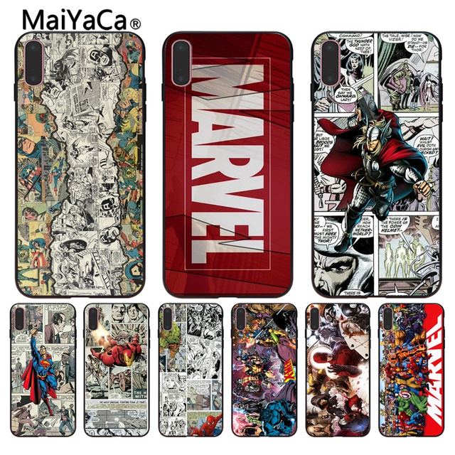MaiYaCa TV Marvel Comics Wallpapers Soft Black Cell Phone Shell For Apple IPhone X 8 7