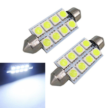 2pcs Festoon 42mm 5050 8LED Canbus Car Interior Dome Light Bulb Bulbs Auto Reading Lights White 12V