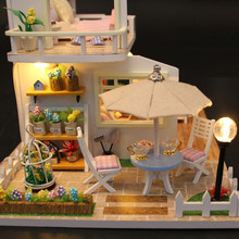 Christmas Gifts Miniature Diy Puzzle Toy Doll House Model Wooden Furniture Building Blocks Toys Birthday Gifts PINK LOFT VILLA