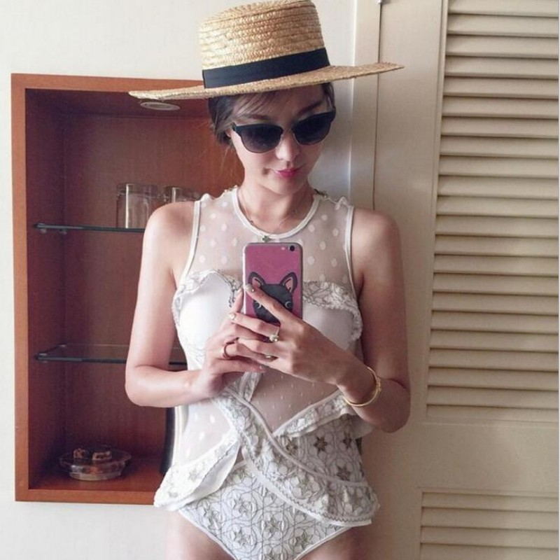 Original Sexy One Piece Swim Suits for Women High-End Embroidery Mesh Transparent Swimsuit Swimwear Push Up Bathing Suit Ladies brief candy color lace up one piece swimwear for women