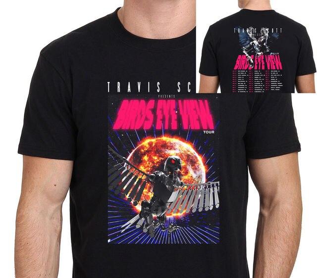 3d1b56c7 Travis Scott Birds Eye View Tour 2017 T Shirt men two sides casual 100%  cotton tee USA size S-3XL