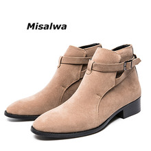 Misalwa Handmade Chelsea Boots Men Pointed Toe Casual Dress Suede Leather Male Camel Black Wedding Short Botas Hombre