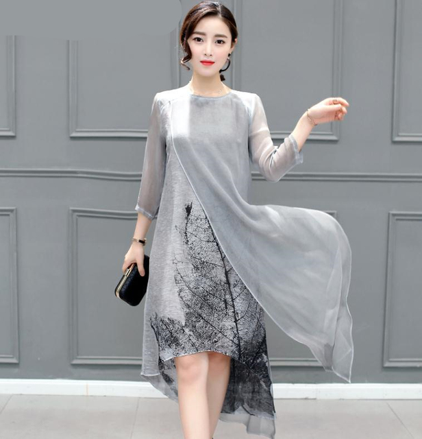 Sexy Summer Autumn Women Cotton Linen Long Dresses Irregular Folk Art Ink Print Casual Plus Size Slim Dress Retro Printing Gray