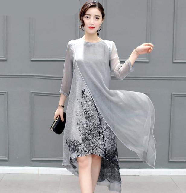 Sexy Summer Autumn Women Cotton Linen Long Dresses Irregular Folk Art Ink Print Casual Plus Size Slim Dress Retro Printing Gray